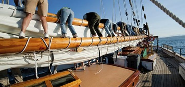 All hands on deck … crew members put away the sails.